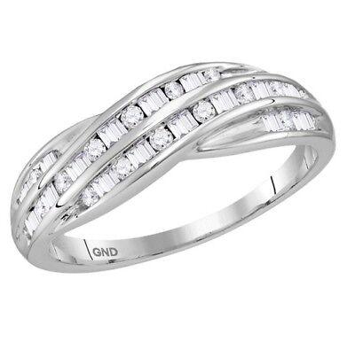 10K White Gold Round & Baguette Diamond Band Channel Set Ring .30ct Bridal Channel Set Baguette