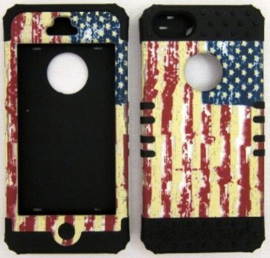 HYBRID Silicone Hard Cover Case+Apple iPhone 5 Rustic American Flag on Black