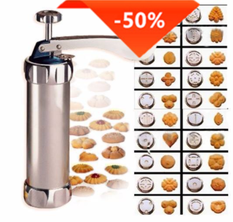 New Press Cookie Machine Biscuit Maker + 20 Moulds - Silver