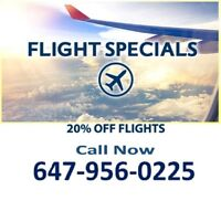 Best Flight Prices Guaranteed! 20% OFF- Call Now 647-956-0225