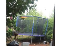 12 foot trampoline with enclosure a few years old bit of rust around legs but in good condition