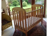 Mamas n' Papas cot complete with safe mattress
