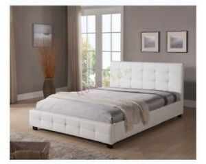 Double white PU leather bed frame brand new Pagewood Botany Bay Area Preview