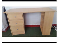 Oak study desk with shelves