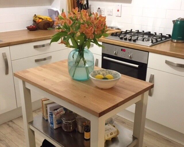 Beautiful new solid oak topped kitchen trolley island with white beautiful new solid oak topped kitchen trolley island with white frame and stainless steel shelves workwithnaturefo