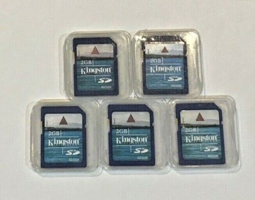 Lot of 5 Kingston 2GB SD Cards With Cases