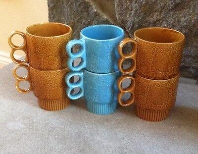 6 Vintage Retro Blue & Brown Stackable Coffee Tea Cups Mugs, Japan