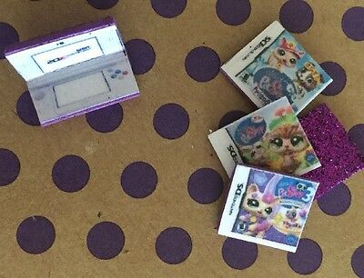 LPS *PURPLE* Nintendo DS Gaming + 3 Games Play Littlest Pet Shop Accessories Lot