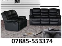Black 3 and 2 seater recliner sofa -2629317