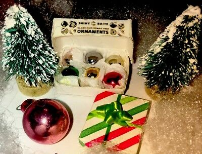 Ornaments In Bulk (Shiny Brite 6 Tiny Dollhouse Christmas Bulbs In Box + 32 Bonus Bulbs Rare)