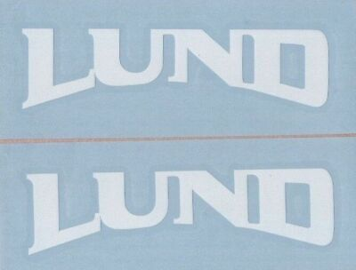 "(2) LUND BOATS 6"" White Decals / Stickers for Trucks, Tackle Box, Trailers..."
