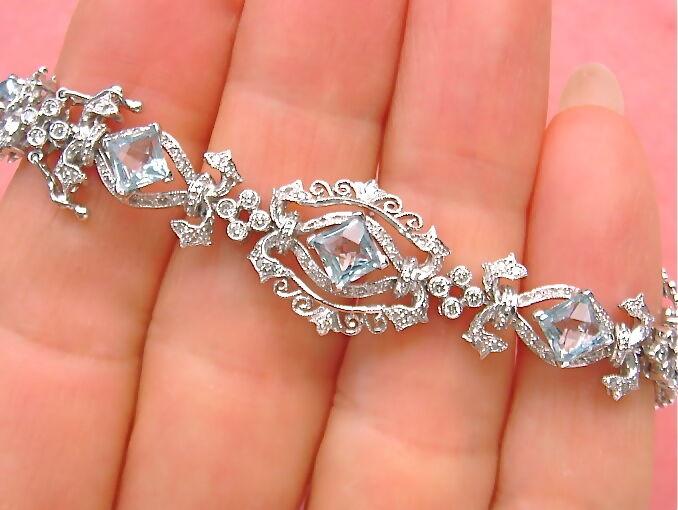 ANTIQUE STYLE 1.8ctw DIAMOND 5.5ctw AQUAMARINE FANCY STATEMENT COCKTAIL BRACELET