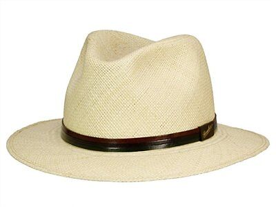 Borsalino Leather - Borsalino Downbrim Panama with Leather Hatband-Free Shipping in US and Canada