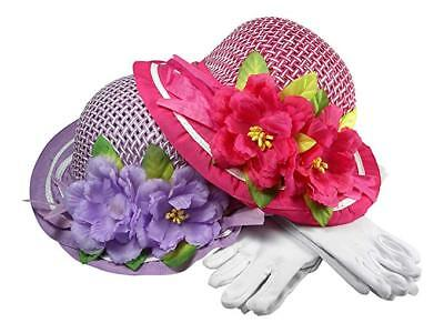 Girls Tea Party Dress Up Play Set of Two With Sun Hats and White Gloves Purple/F](Tea Party Hats And Gloves)