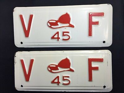 1945 Volunteer Fire Department Vintage License Plates RARE