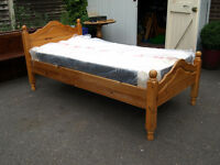 3ft Single pine bed with new memory foam mattress