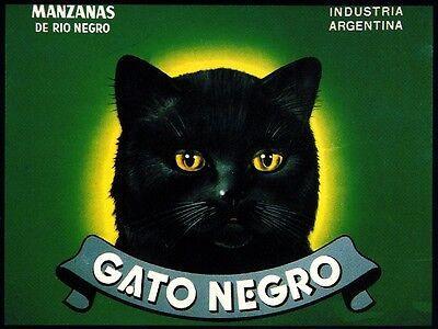 Black Halloween Apples (Argentina Gato Negro Black Cat Halloween Apple Fruit Crate Label Art)