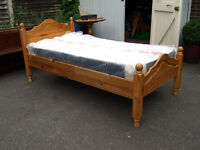 Single pine bed with new mattress