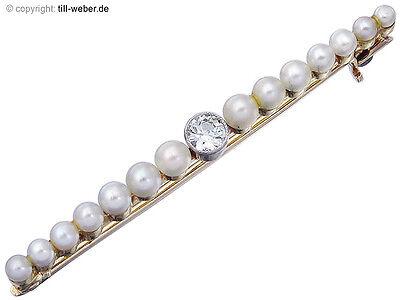 """Brosche Antik """"Altschliff Diamant"""" Perlchen Gelbgold ca. 1910 - 1920"""