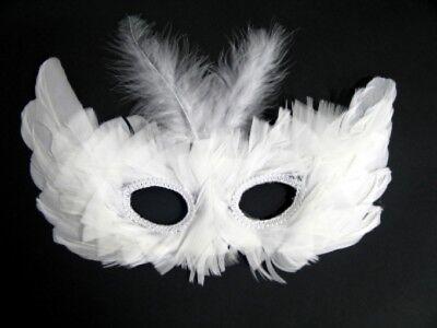 weiße Augenmaske Federmaske Karneval Fasching Party Maske