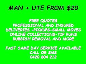 NEED A SOFA PICKED UP? MAN AND UTE FROM $20 ALL AREAS   Call Now North Lakes Pine Rivers Area Preview