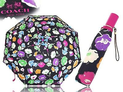 NWT Coach New $85 Automatic Compact Exploding Wildflower Print Umbrella F65810