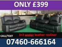 183 New 3 and 2 seater leather recliner sofa