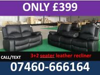666 new 3 and 2 seater leather recliner sofa