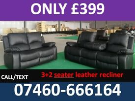 471 3 and 2 seater leather recliner and fabric sofas