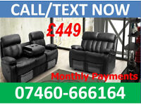 HUGE SALE - HALF PRICE 3 AND 2 SEATER LEATHER RECLINER