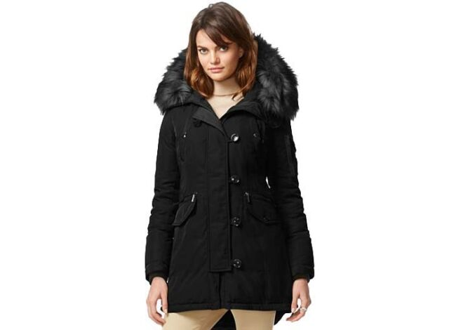 Michael Kors Down Parka Coat With Fur Hood Regular M Black   eBay