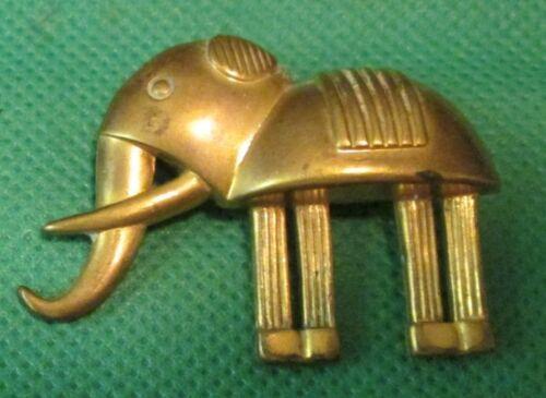 "Vintage Modern Deco ELEPHANT goldtone pin brooch 1.25"""