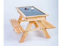 NEW - Wooden Picnic table with sand pit and chalkboard