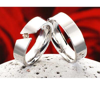 Verlobungsring Trauringe Eheringe aus Titan mit echten Diamant TB013