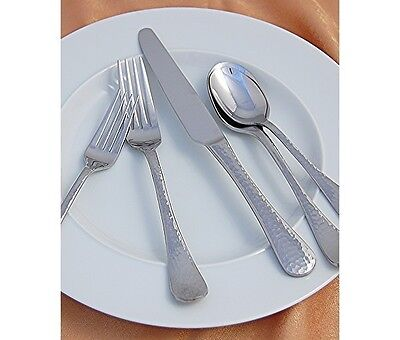 Stainless Steel Flatware Set Silverware Hammered 18/0 Rustic 42 Pc Service for 8