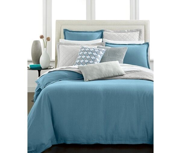 NWT Hotel Collection Linen Turquoise KING Duvet Cover MSRP $360 - NICE!