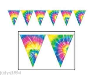 GROOVY HIPPIE 60'S TIE DYE PENNANT BANNER FLAGS BUNTING PARTY DECORATION PROP