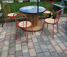 Quirky cable drum glass top garden table chairs habitat retro industrial