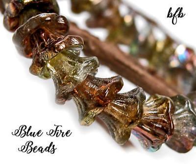 BFB-Prem Czech Pressed Glass 7/5mm Bell Flower Beads   *WILLOW TRAIL/ PRISM* Czech Pressed Glass Beads