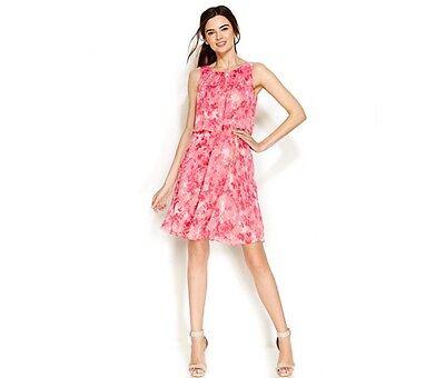 Calvin Klein Floral-Print Belted Popover Dress Coral Multi New  - Belted Floral Print Kleid