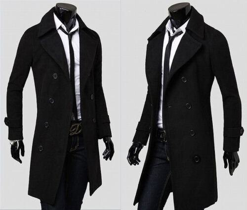 Thick Warm Breasted Details Pea Coat Winter Overcoattrench Long About Jacket Mens Double Slim PZuXki