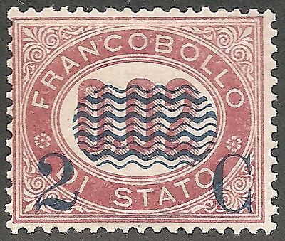 1878 Italia Regno 2c. su 2c lacca N° 29 integro fior di stampa Cert. Fot. Sorani