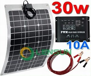 20W 30W 40W 50W 60W 80W 100W 12V Flexible solar panel kit,10A regulator,5m cable