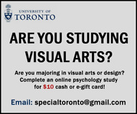 Visual Arts Students Wanted for Research ($10 Compensation)