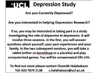 Help research in depression at UCL (£95-£135)