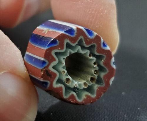 (1) Antique Venetian Trade Bead - 7 Layer Chevron-10-16mmx 11mm-Rosetta African
