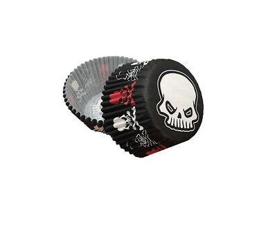 Bakell - 25 PC Set of Halloween Skulls Cupcake Liners - Baking and Craft Tools ()