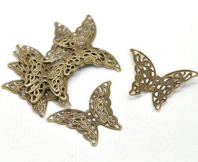 10 BUTTERFLY Antique Bronzed FILIGREE WRAPS 1-5/8