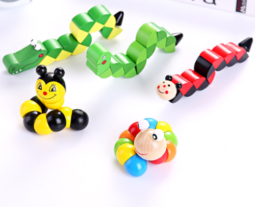 Baby Wood Toys Flexible Twisting Caterpillar Wooden Toy for