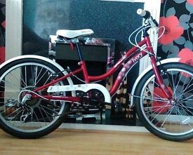 Girls bicycle red Apollo Ivory 20 inch shimano gears with helmet